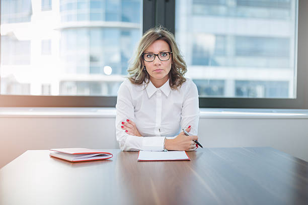 young pretty leader of small company , female CEO stock photo