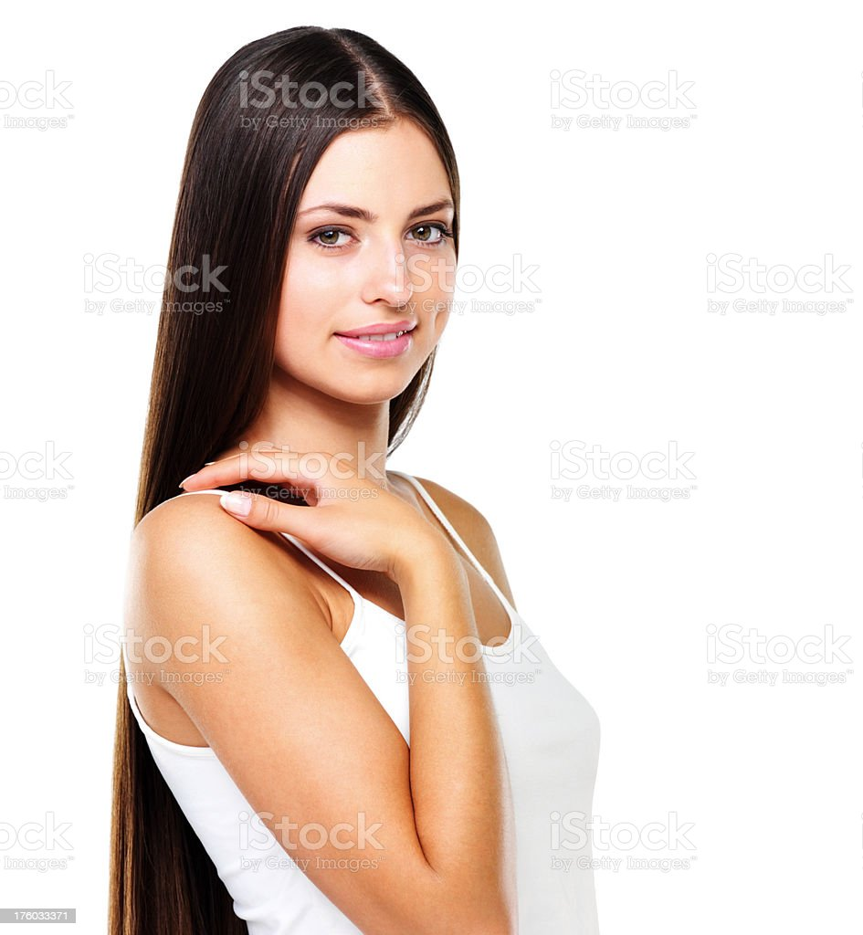 Young pretty smiling girl stock photo