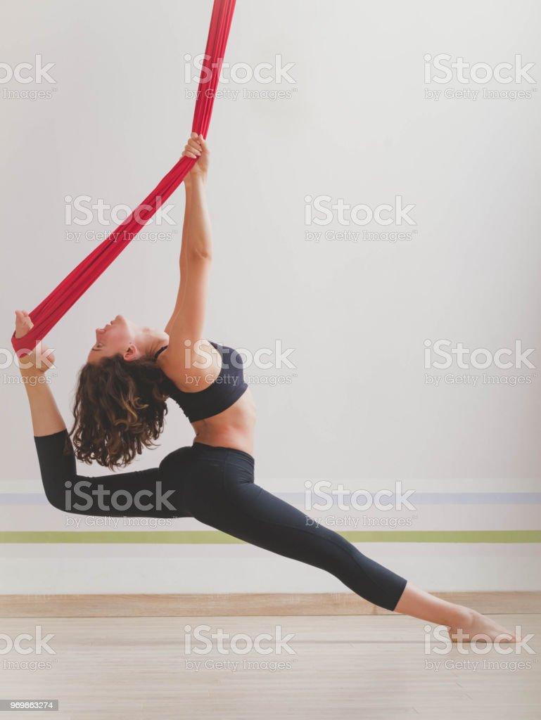 her legs apart