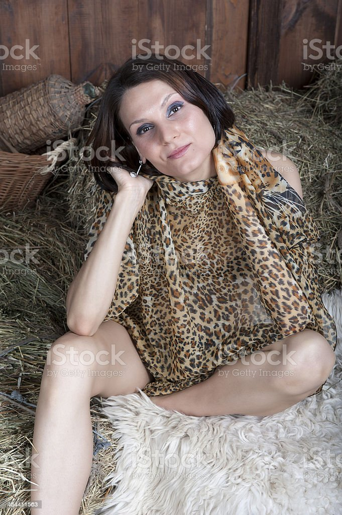 Young pretty woman with coloured shawl stock photo