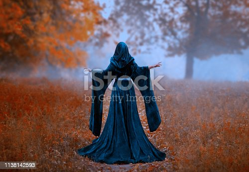 young priestess holds a secret rite of sacrifice, is alone in the autumn forest on a large glade. the escaped queen wore a blue velvet cloak-dress with wide sleeves. magnificent amazing art photo.