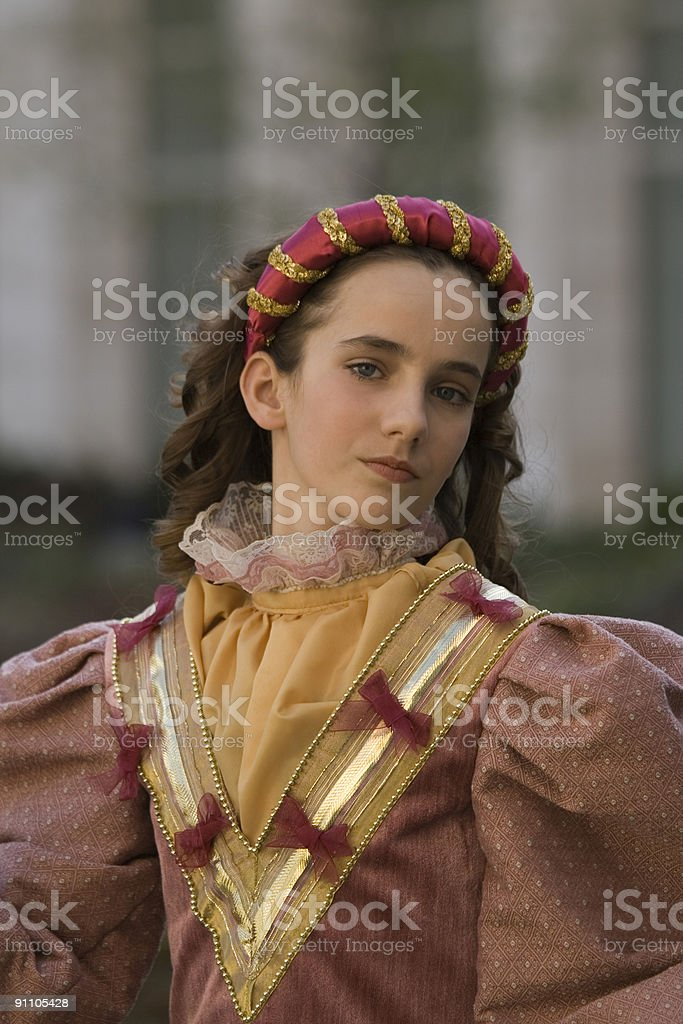 Young princess in medieval dress (Spanish Golden Age) stock photo