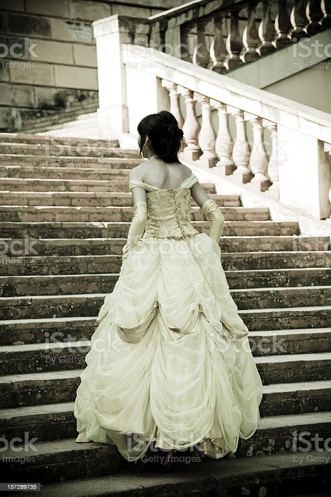 young princess, up the stairs. royalty-free stock photo