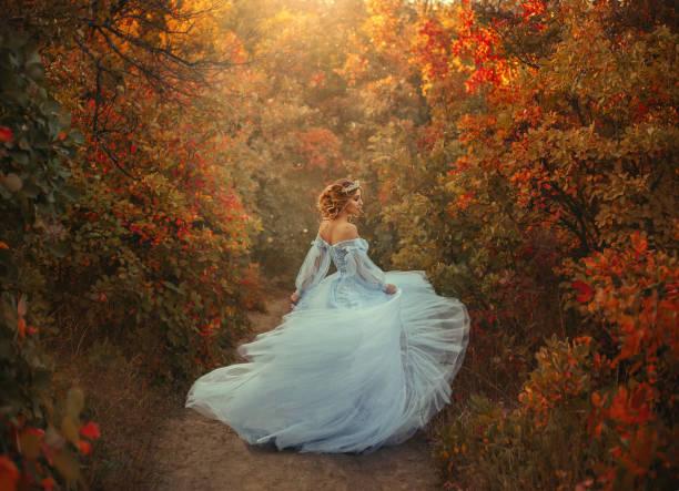 黄金の秋の自然の中を歩く若い王女 - プリンセス ストックフォトと画像