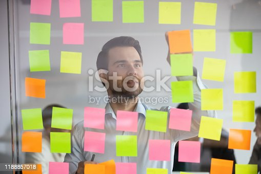 1147760705 istock photo Young professional busy with project planning on kanban board. 1188857018