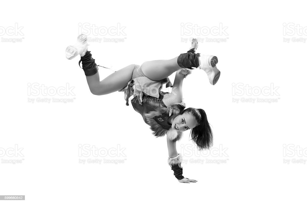 Young professional cheerleader dressed in a warrior costume stock photo