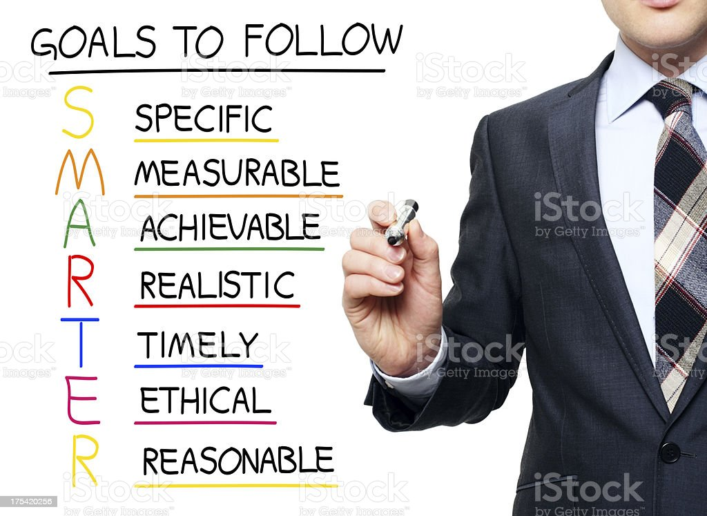 Young professional writing acronym for SMARTER stock photo