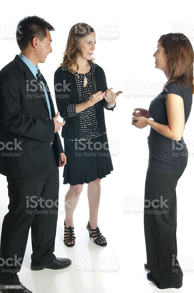 Young Professionals Talk with Sign Language stock photo
