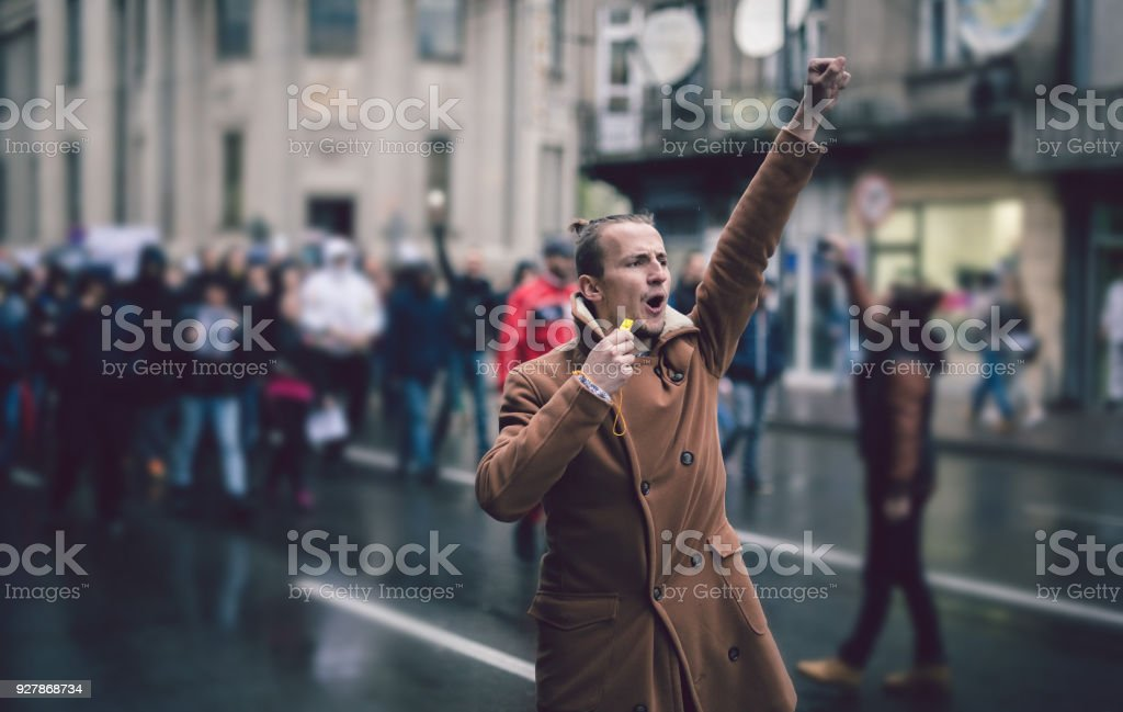 Young Protester stock photo
