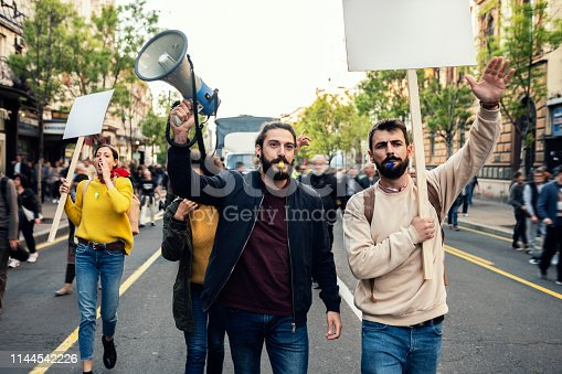 Young Protesters Protesting at the street