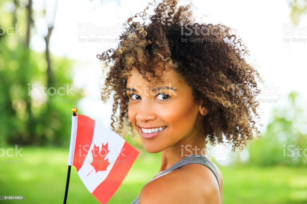Young Proud Canadian Woman stock photo