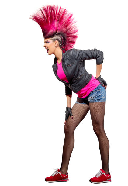 young punk girl isolated - punk music stock photos and pictures