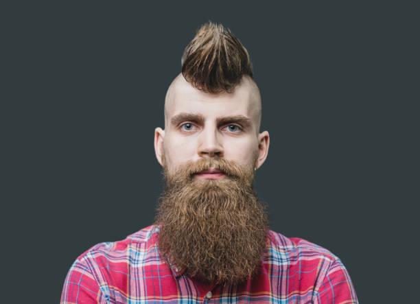 Young punk man close up portrait stock photo