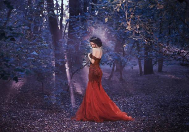 junge königin in einem luxuriösen kleid - gothic kleid stock-fotos und bilder