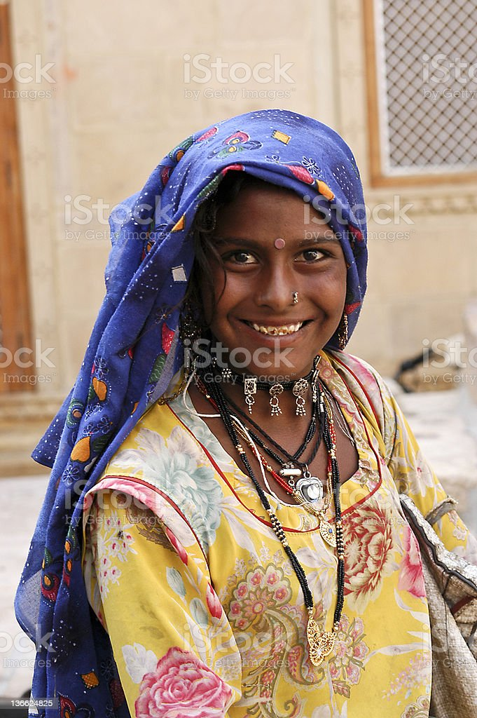 Young Rajasthani female asking for donation. royalty-free stock photo