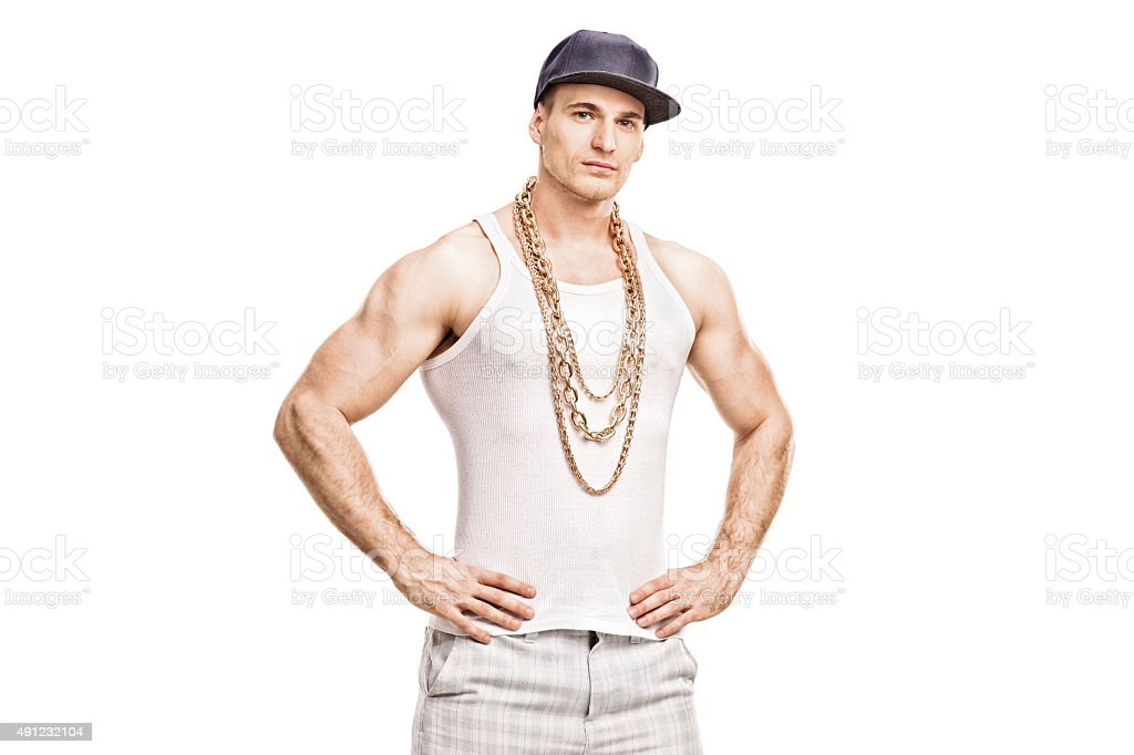 Young rapper with a blue cap and a golden chain stock photo