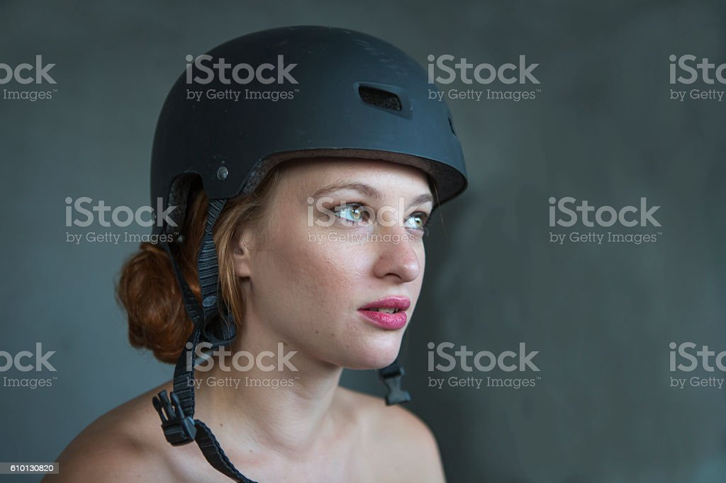 Young Red Haired Irish Female With Helmet In Istanbul Turkey