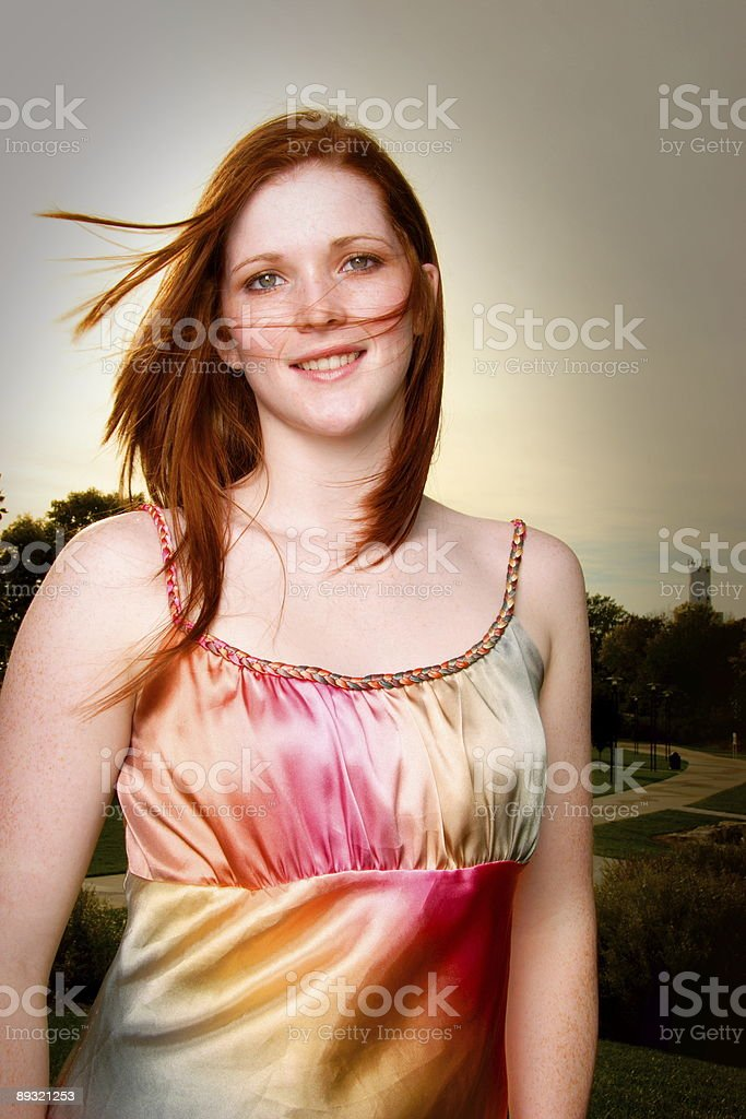 Young Red Haired Woman Windy Outdoors royalty-free stock photo