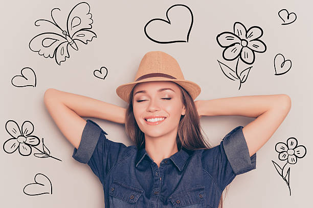 young relaxed woman with closed eyes touching head and dreaming - sleeping illustration stockfoto's en -beelden