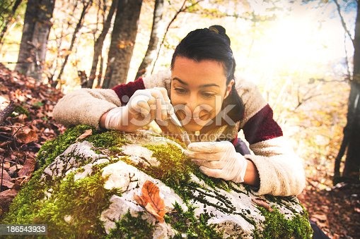 Young researcher woman examines plants and water in the forest.