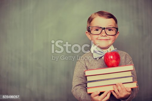 istock Young Retro Boy Holding Books in Classroom 525499257