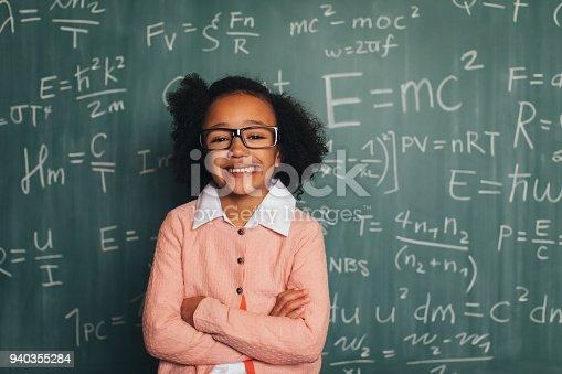 143176157 istock photo Young Retro Nerd Girl in Classroom 940355284
