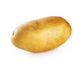 Young ripe potato isolated on white background