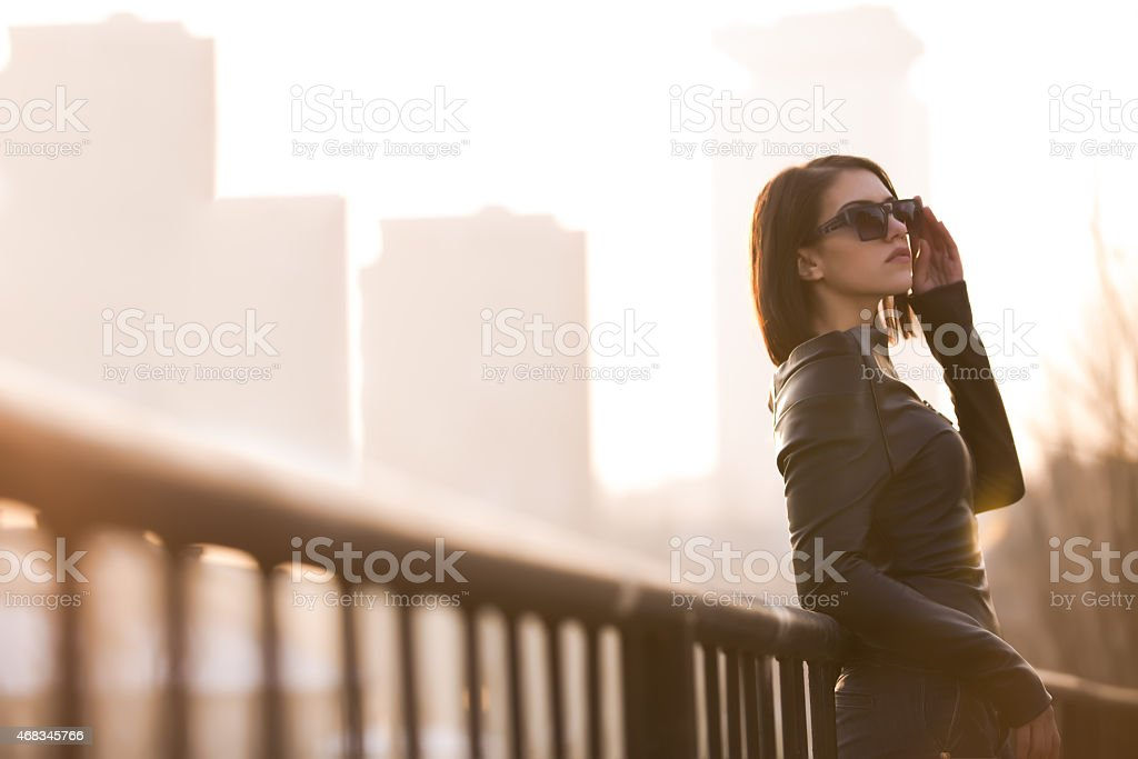 Young rock woman in black leather jacket.Rocker,punk woman royalty-free stock photo