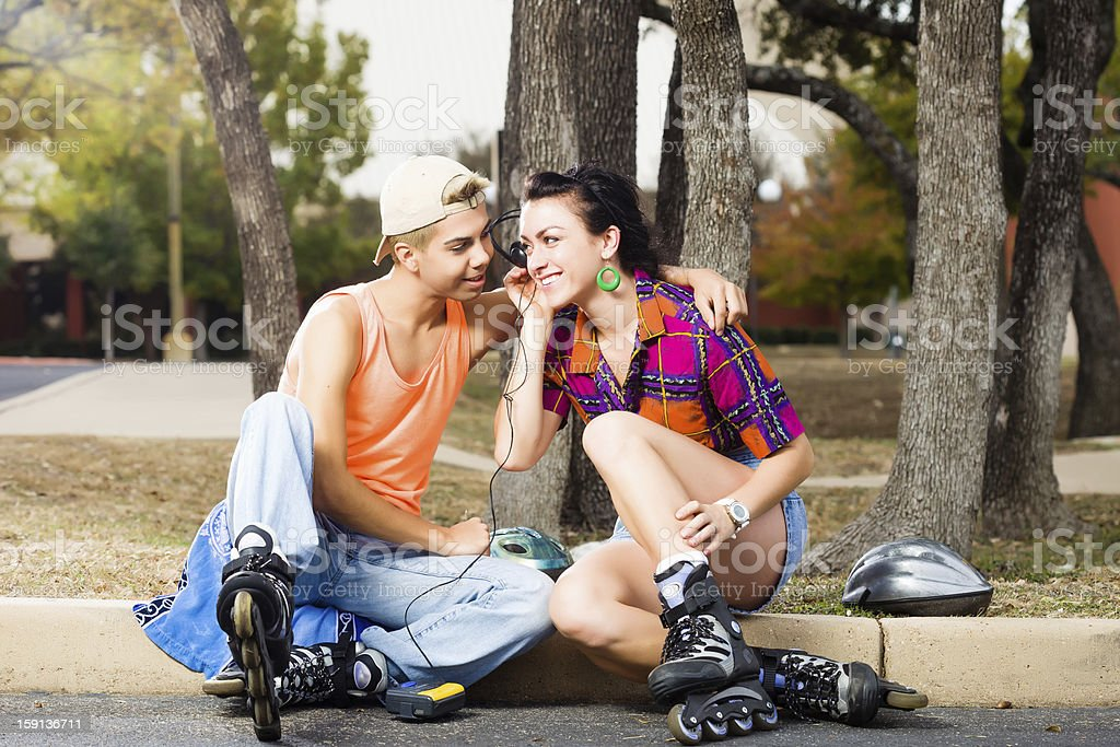 Young Roller Skating Couple stock photo