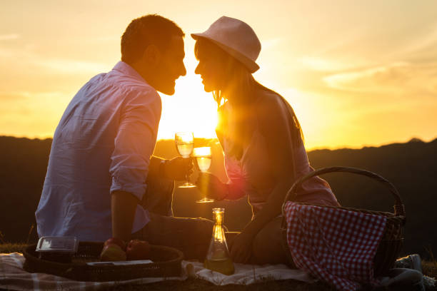 young romantic couple toasting with wine at sunset. - romantisches picknick stock-fotos und bilder