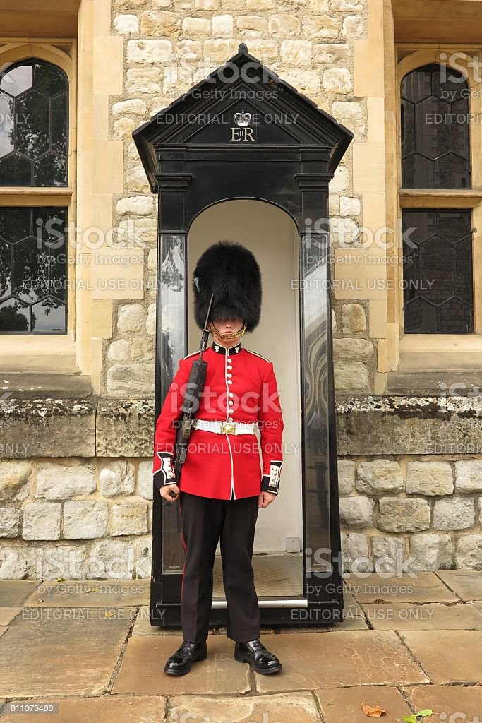 Young royal protecting Crown Jewels at Tower of London stock photo