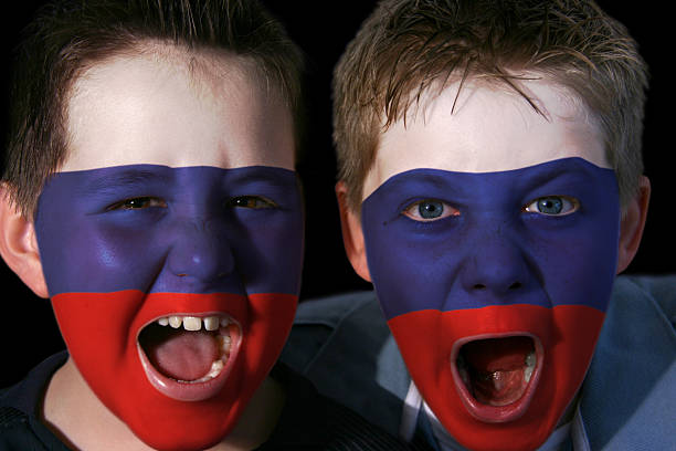 Young Russian Ice Hockey Fans stock photo