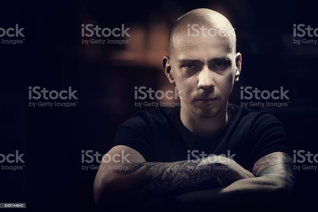 Young russian man in a nightclub stock photo