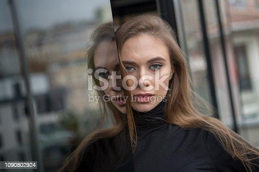 Young russian woman posing at  karakoy istanbul  turkey