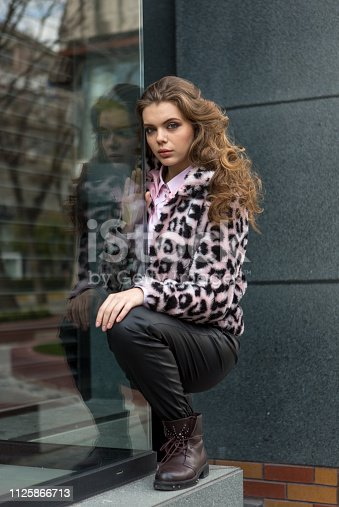 Young russian woman posing at street of karakoy istanbul  turkey