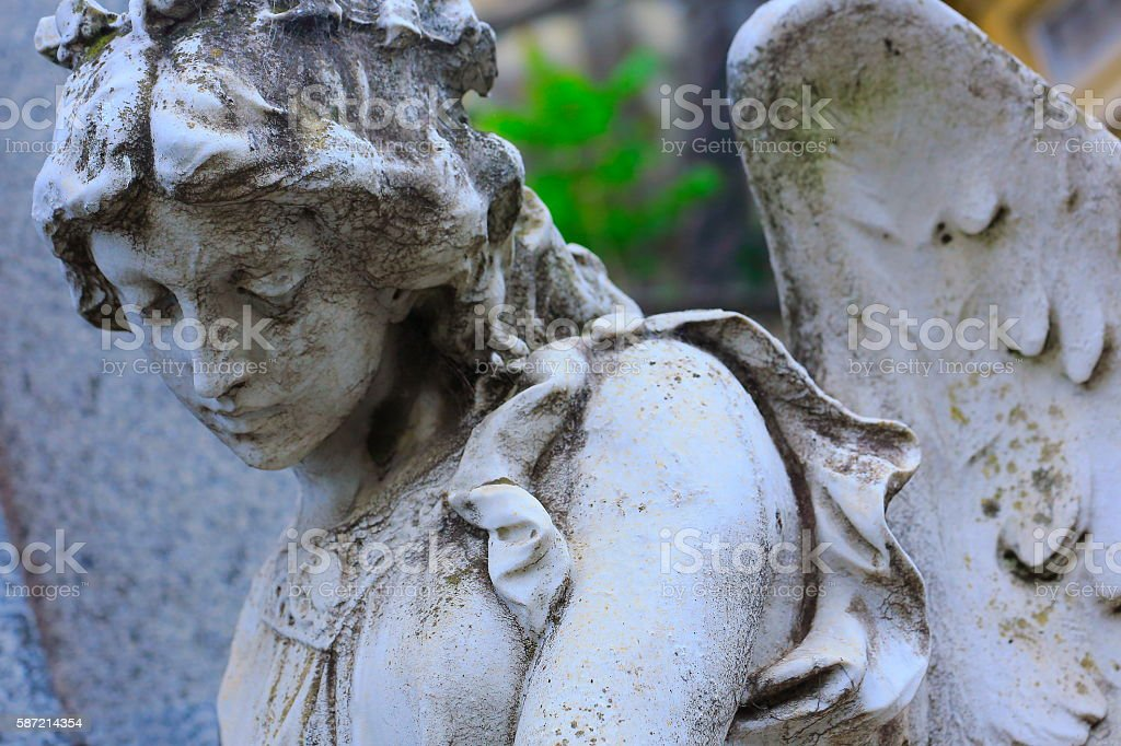 Young sad, beautiful fragile Madonna Angel, Recoleta cemetery, Buenos Aires stock photo