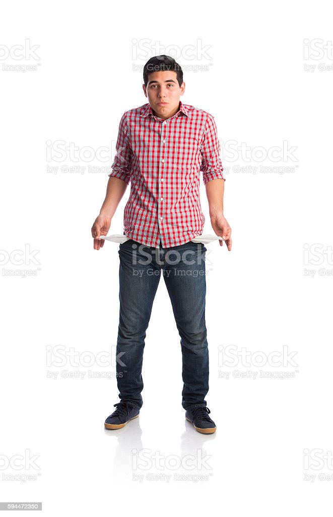 Young sad man showing empty pockets stock photo