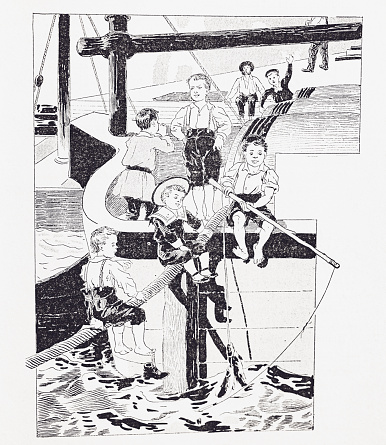 Image from 1894 French book, about the New Adventures of the nephew of Robinson. Black and white illustrations of the era and culture of maritime advenure. quayside, barrelsropes and young boys in old fashioned sailor suits, playing and fishing