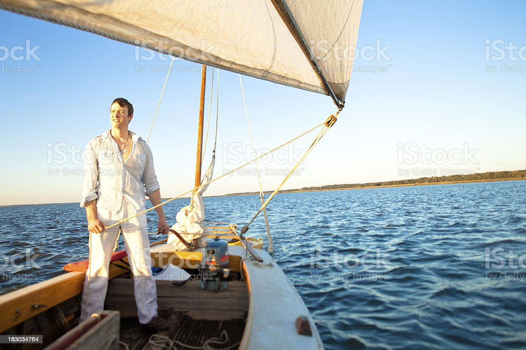 Young sailor looking into the distance royalty-free stock photo