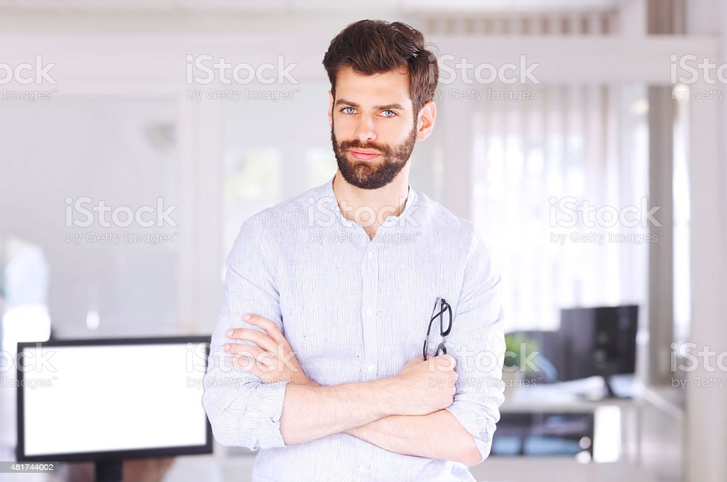 Young sales man portrait stock photo