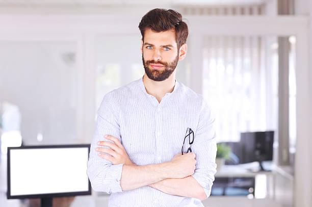 Young sales man portrait stock photo