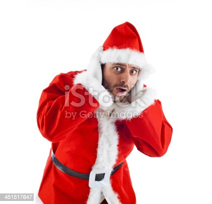 istock Young Santa Claus isolated on white background 451517647