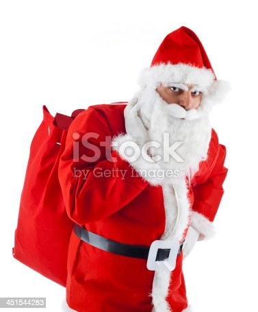 istock Young Santa Claus isolated on white background 451544283
