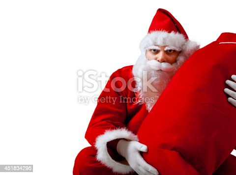istock Young Santa Claus isolated on white background 451834295