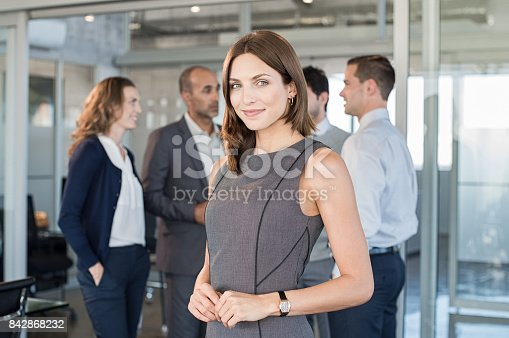 istock Young satisfied business woman 842868232