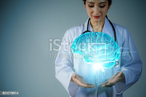 875483824istockphoto AI(artificial intelligence). young scholar holding brain 3D graphics. 3D rendering. 824219514