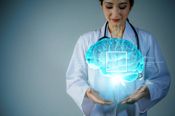 AI(artificial intelligence). young scholar holding brain 3D graphics. 3D rendering. stock photo