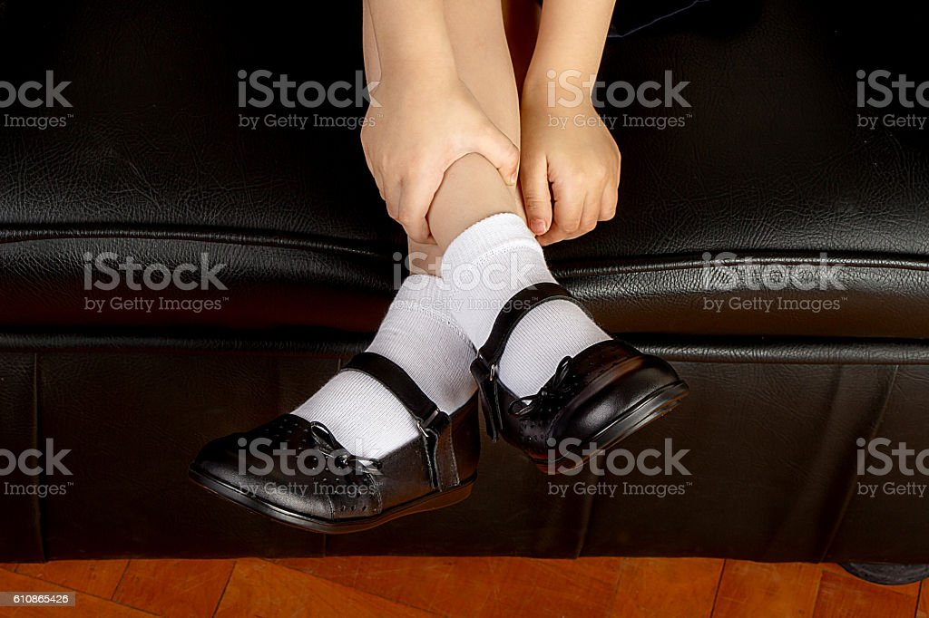 4f1476a0e991 Young School Girl Student Wearing Black Shoes And White Socks Stock ...