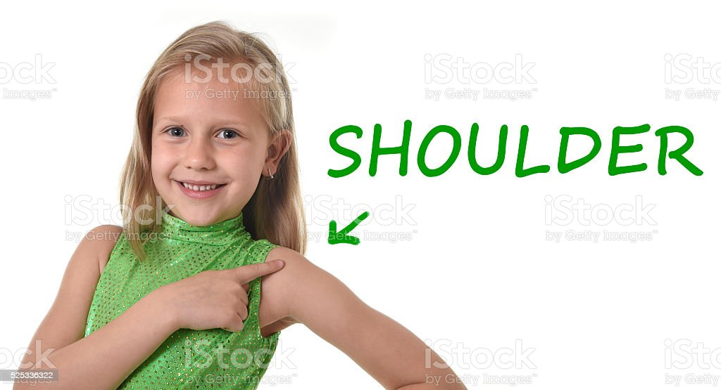 Young Schoolgirl Pointing Shoulder In Body Parts Learning English