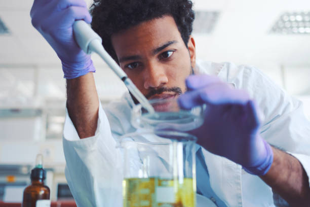 young scientist working in laboratory - research stock pictures, royalty-free photos & images
